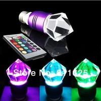 Free shipping  AC85V-265V  E27 Artificial crystal  bulb light Lamp RGB 3W led RGB bulb with Remote control
