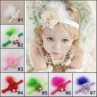 Cream Rosette feather headband -Baby girl Headband-newborn headband 10pcs/lot 7 colors available