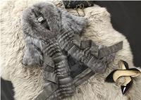 2014 New! Women Genuine Fox Fur Coats Jackets Natural Furs Vests Waistcoats Striped Design Fashion Outerwear Plus Size Customize