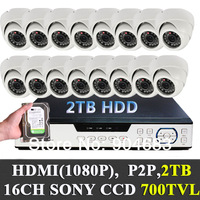 2TB Hard drive built in 16CH Security Camera indoor CCTV system 1/3'' Sony Effio CCD 700TVL Cameras 1080P HDMI P2P NEW