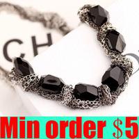 Fashionable High Quality Korean Black Created Gemstone Choker Necklace Free