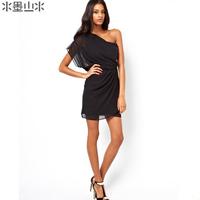 Smss fashion brief fashion strapless oblique solid color strapless chiffon banquet dress one-piece dress