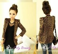 2014 spring women's fashion shoulder pads suede fabric leopard print blazer outerwear