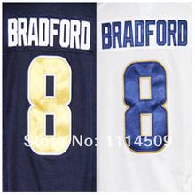 O envio gratuito de Elite costurado Futebol Americano Atacado St. Louis Clube # 8 Sam Bradford Jerseys(China (Mainland))