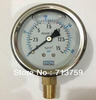 "Glycerine filled Y-60 SS Manometer Pressure Gauge Meter 1/4""BSPT 60mm Dia 0-15kg/cm2 (0-200PSI)"