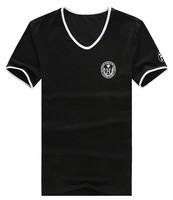 2014 Spring 3.25 Shopping Festival men brand printed t shirt summer v-neck T-shirt Plus Size 4XL 5XL 6XL Free Ship