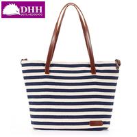 Fashion stripe print canvas bag 2014 women's handbag shoulder bag messenger bag #1088