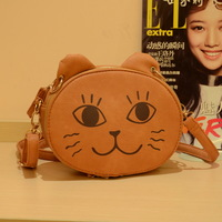 1009 female bags fashion bag cartoon small cat print messenger bag