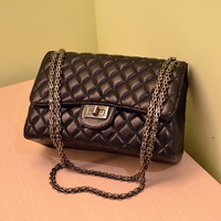 1158 female bags vintage spring black small plaid chain gun shoulder bag
