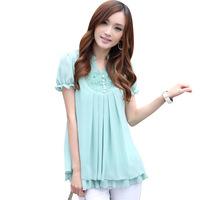 New 2014 women summer Chiffon base blouse short-sleeve embroidered korea fashion lace blouse plus size 4 color M-3XL