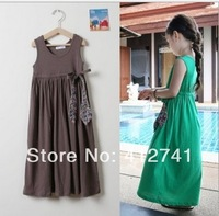 2014 New Summer Vest Girl Floral Cotton Long Dress Junior's Beach Sleeveless Dress Children Clothing Tank Top Dress
