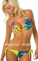 Free Shipping Women's Sexy Hot Bikini Swimwear With Tags,Skull red hearts Swimsuit bikini beachwear,bathing suit #ed yellow
