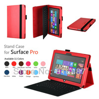 Free shipping For Microsoft surface pro /pro 2 leather case surface case surface pro case pro 2 stand case cover mix color