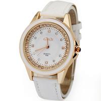 rhinestone watch,yellow Leather belt Wristwatches,Alloy leisure