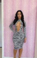 New hot  Turtle Neck zebra printed dress fashion Tight Sexy Long Sleeve printing bandage dress YH018