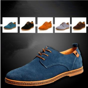 Размер 38-47 новый 2014 замша натуральная кожа обувь мужская оксфорды свободного покроя мокасины кроссовки для мужчин ботинок квартир #Y8011358Q