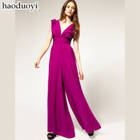 2014 chiffon one-piece dress pants female high quality elegant plus size  haoduoyi,summer jumpsuit for women free shipping