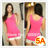 free shipping 2014 Spring sexy women modal lace top with pocket
