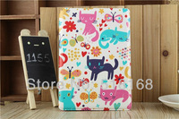 High Quality Cute Cat PU Leather Stand Case For iPad 2 3 4 iPad mini