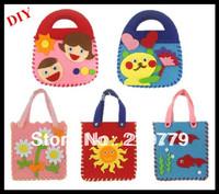 5pcs/lot make handmade handbags non-woven Cloth diy handbag kit kids Girl Crafts cartoon Toys for Chilren