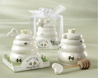 Meant to Bee Ceramic Honey Pot+ 10SETLot wedding bridal shower favor gifts +Free shipping