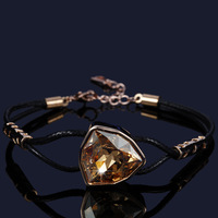 CDE Fashion Black Leather Bracelet for Women Crystal Charm Bracelets Wholesale Accessories Made with SW Element
