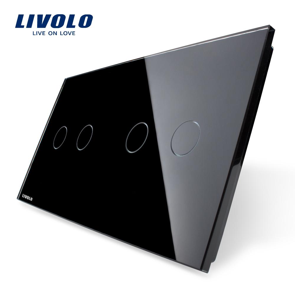 Livolo жемчужный черный, 151 мм * 80 мм, Стандарт ес, Двойной стеклянная панель, Vl-c7-c2 / C2-12 вентилятор напольный aeg vl 5569 s lb 80 вт