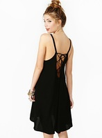 2014 Sexy Low Back Lace Round Neck Solid Color Chiffon Halter Strap Dress WD79