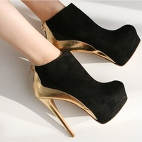 2014 New Platform High Heel Wedge Boots Ankle Suede Shoe Women Pumps Black Free Shipping
