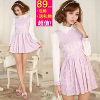 2014 spring Women solid color print sweet princess dress lotus leaf turn-down collar slim lace long-sleeve dress