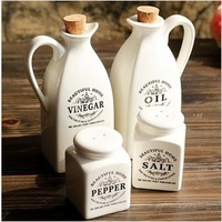 Europe style white ceramic vinegar oil salt caster/ kitchen cooking tool four design cookware  072621