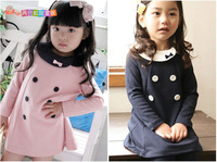 Korean Style 2014 New Spring Autumn Girls Clothing Female Child Bow Double Breasted One-piece Dress Princess Dress A-line Dress