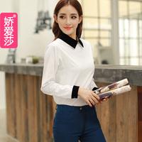 2013 autumn cotton black and white female 100% basic shirt turn-down collar long-sleeve shirt patchwork
