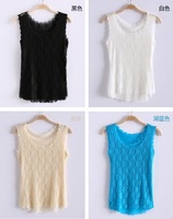 2014 new fashion Summer o-neck slim full lace small vest basic small spaghetti strap tank tops women chiffon camis ladies