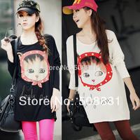 2014 Fashion new tshirt for women plus size clothing tunic for woman cartoon cat print long-sleeve t-shirt lady top beige,black