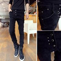 Male trousers pants Trend jeans 2014 Black handsome Button design.Rivet Men's Drop-shipping Slim fit New 2014