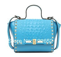 Spring 2014 new style crocodile texture leather one shoulder rivet bag small genuine leather handbag free shipping B-25