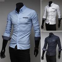 M-XXL, 2014 New Fashion Hot Sale Men 3  Colors Stylish Slim Fit Dress Shirt Leisure Shirt Dot design 9056