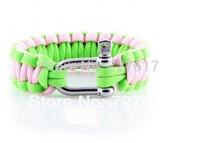 Neon green&pink girls bracelet DIY paracord survival free shipping
