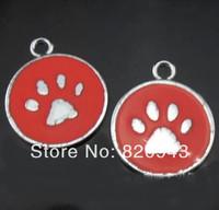 50pcs paw tag Hang Charms Fit Pet Dog Cat Tag Collar Wristband