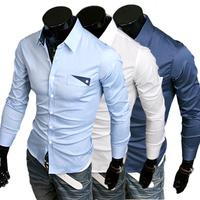 M-XXL, 2014 New Fashion Hot Sale Men 3  Colors Stylish Slim Fit Dress Shirt Leisure Shirt solid color 9048