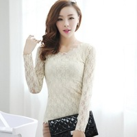 2014 new blouse women's spring summer fashion white / black lace tops tshirt blouses for ladies clothing T187
