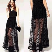 New in 2014 Skirts Womens Fashion Perspectivity Vintage Polka Dot Black Gauze Long Skirt Elegant Lace Skirt