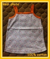 6-24months 100% cotton polka dot print camisole baby tank top Sleeveless vest kids summer tank tops Free shipping