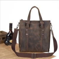 2014 New Vintage Casual Style Genuine Leather Bags For Men Shoulder Messenger Bag Laptop Briefcase Handbag Crazy Horse Bag