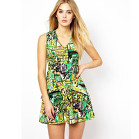 New! European Vintage Print Sleeveless V Neck Woman's Sexy Dress Quality Elegant Dress 022806