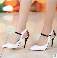 Fashion spring 2014 serpentine pattern cutout fashion genuine leather pointed toe high heeled single shoes women's shoes
