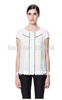 New 2014 Clothing Women Blouses And Tops Fashion O-Neck Ruffles Short Sleeve Chiffon Shirt
