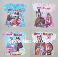 kid cartoon t-shirt summer short sleeve tee masha and bear girl t-shirt