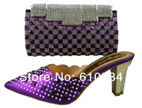 Italy shoes with matching bags, lady shoes, good material, free shipping by DHL, B214 purple size 38-43